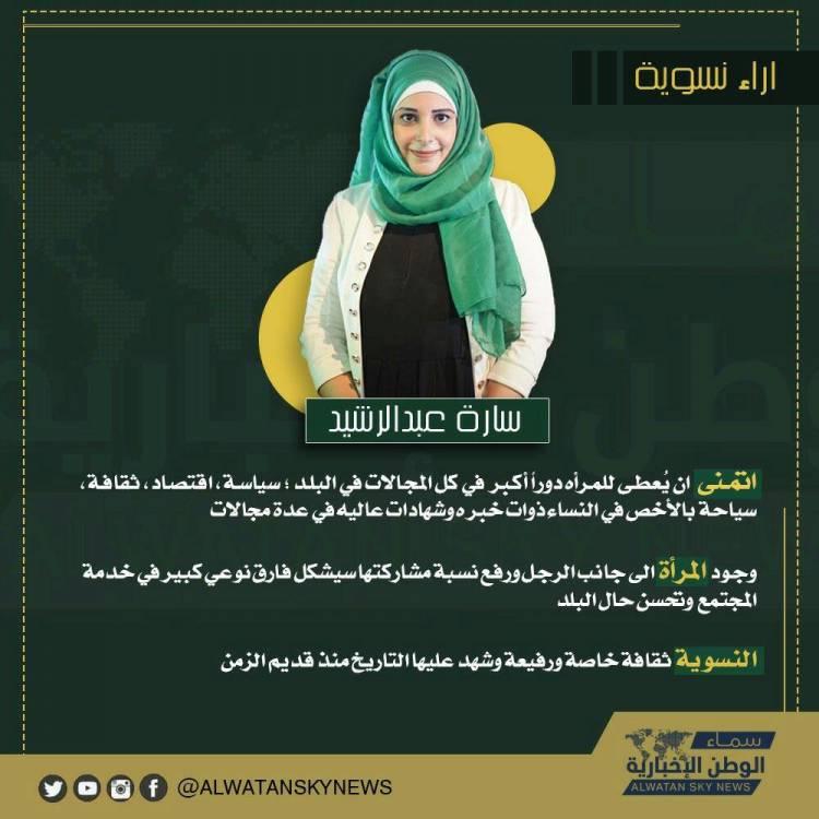 في حملة سماء الوطن من أجل الاهتمام بآراء النساء حول المستقبل كانت معانا في ثاني يوم سارة عبدالرشيد