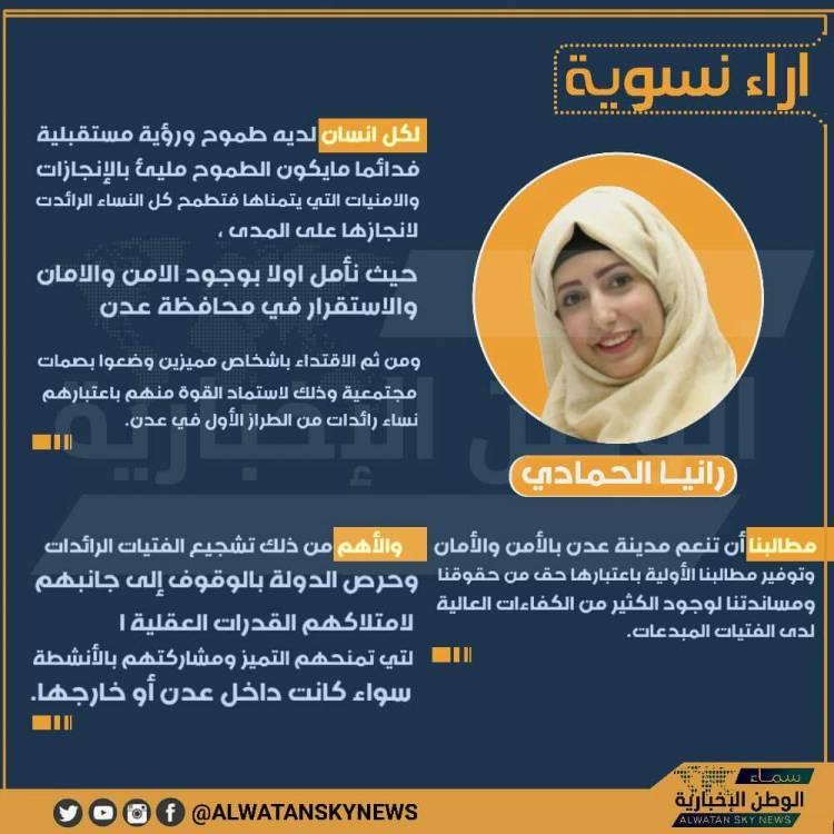 في حملة سماء الوطن من أجل الاهتمام بآراء النساء حول المستقبل كانت معانا في اول يوم رانيا الحمادي