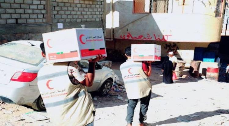 الهلال الأحمرالاماراتي يسير قوافل إغاثية إلى سكان شبوة وحضرموت
